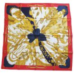 Hermes 100% Silk Soleil de Soie Red/Blue/Gold Scarf