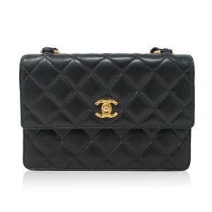 Chanel black lambskin quilted cross body bag