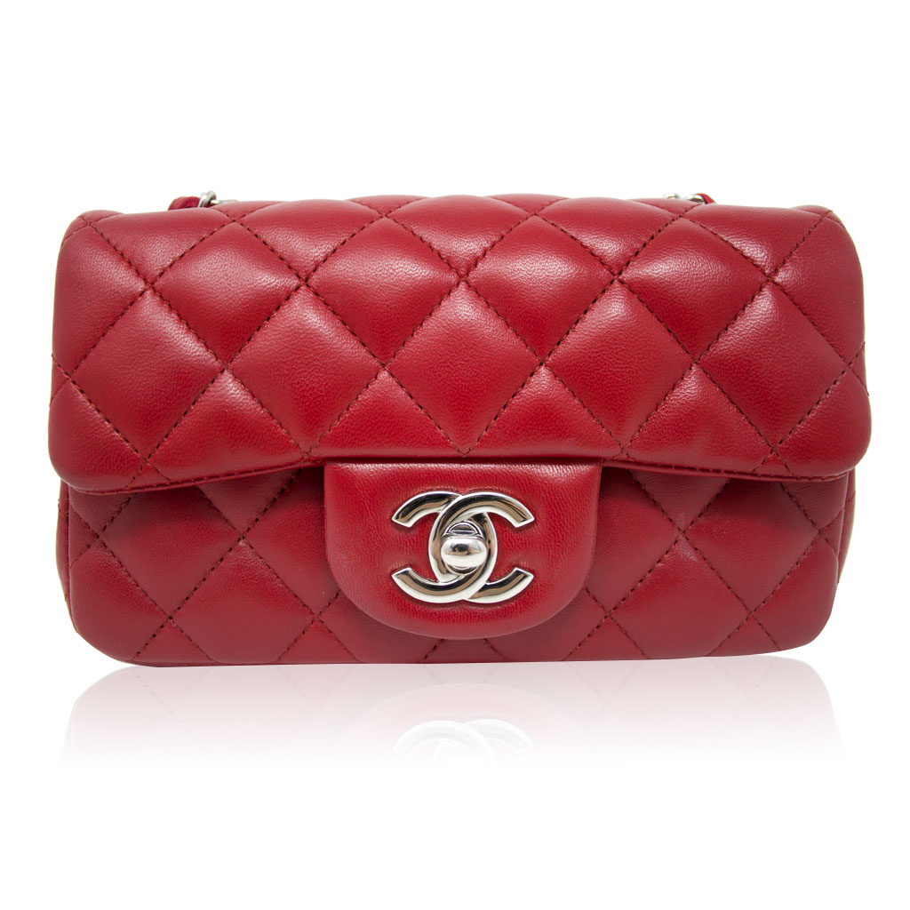 c492a770f214c1 Chanel Red Lambskin Quilted Mini Flap Handbag in Box