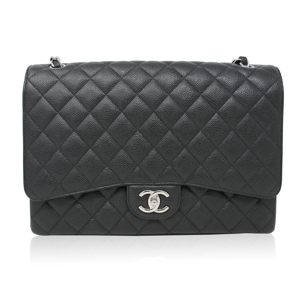 c4dc1d844f5b Chanel Maxi Double Flap Black Caviar SHW Shoulder Bag Purse No. 22