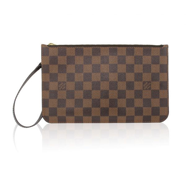 Authentic Louis Vuitton Damier Ebene Wristlet Pochette Bag