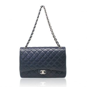 Chanel navy maxi caviar flap bag