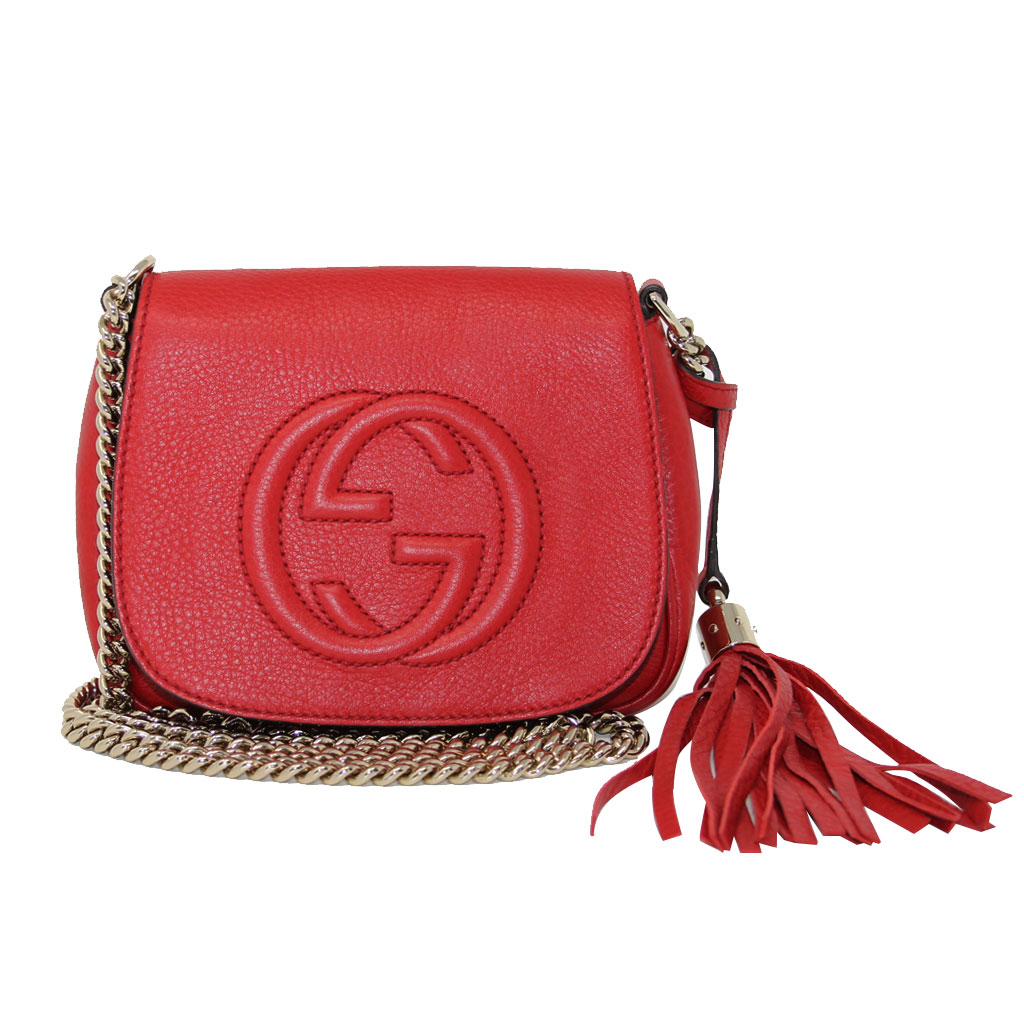 1ce5d1c1 Gucci Soho Flap Red Leather Light Gold Chain w/ Tassel Bag