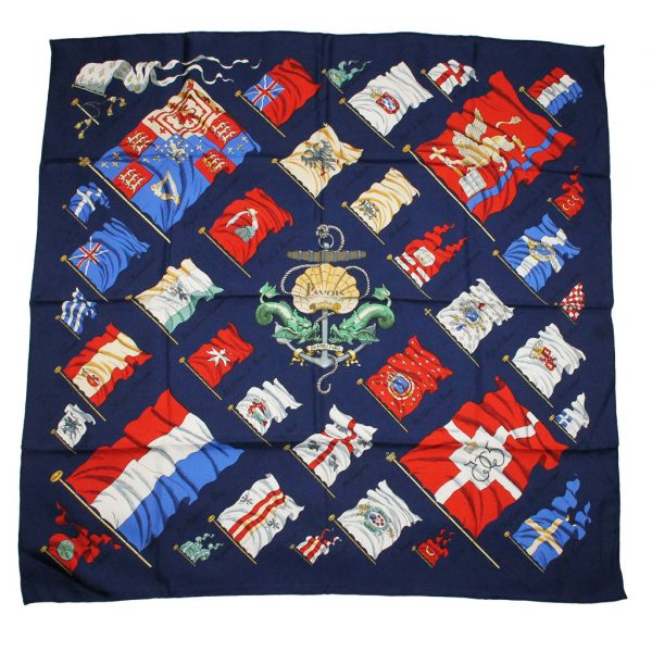 Authentic Hermes 100% Silk Pavois Scarf