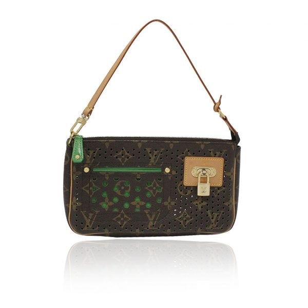 Louis Vuitton Perforated Monogram Green Pochette Purse