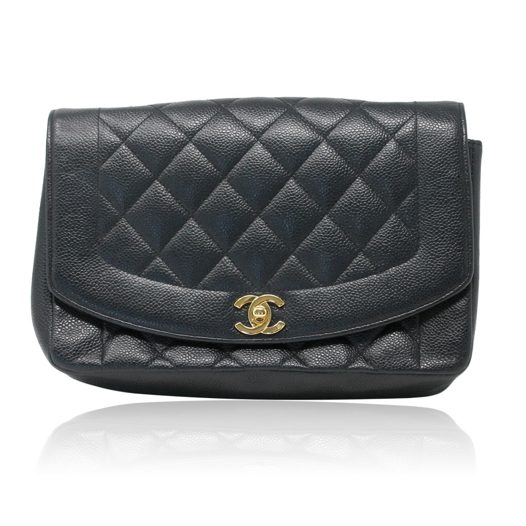 d6eba1ead967 Chanel Black Caviar Diana Vintage Flap Bag No. 3 Gold Hardware