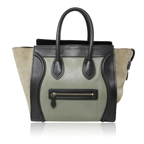 Preowned Celine Tri Color Green/Black/Taupe Calf Leather Suede Large Phantom Handbag Boca Raton