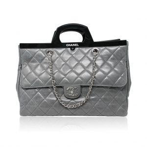 preowned Chanel grey calfskin rigid handle tote