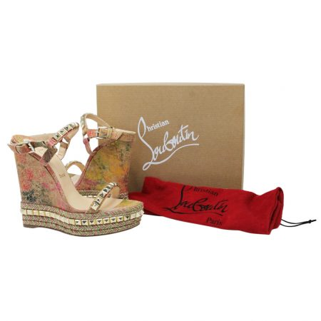 Christian Louboutin Cataclou 140 Cork Blooming Multicolor/Studded Wedges Size 11 Boca Raton