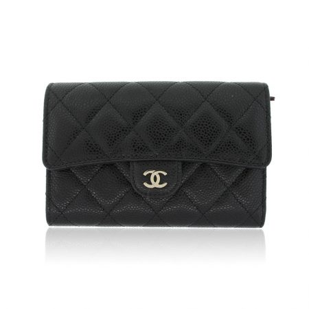 Chanel Maroquinerie black caviar wallet in box