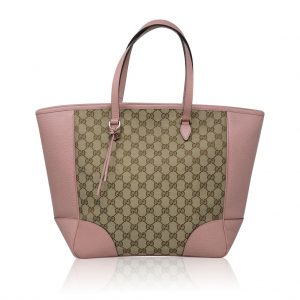 Gucci Monogram and Pink Leather Large Tote Bag in Dust Bag
