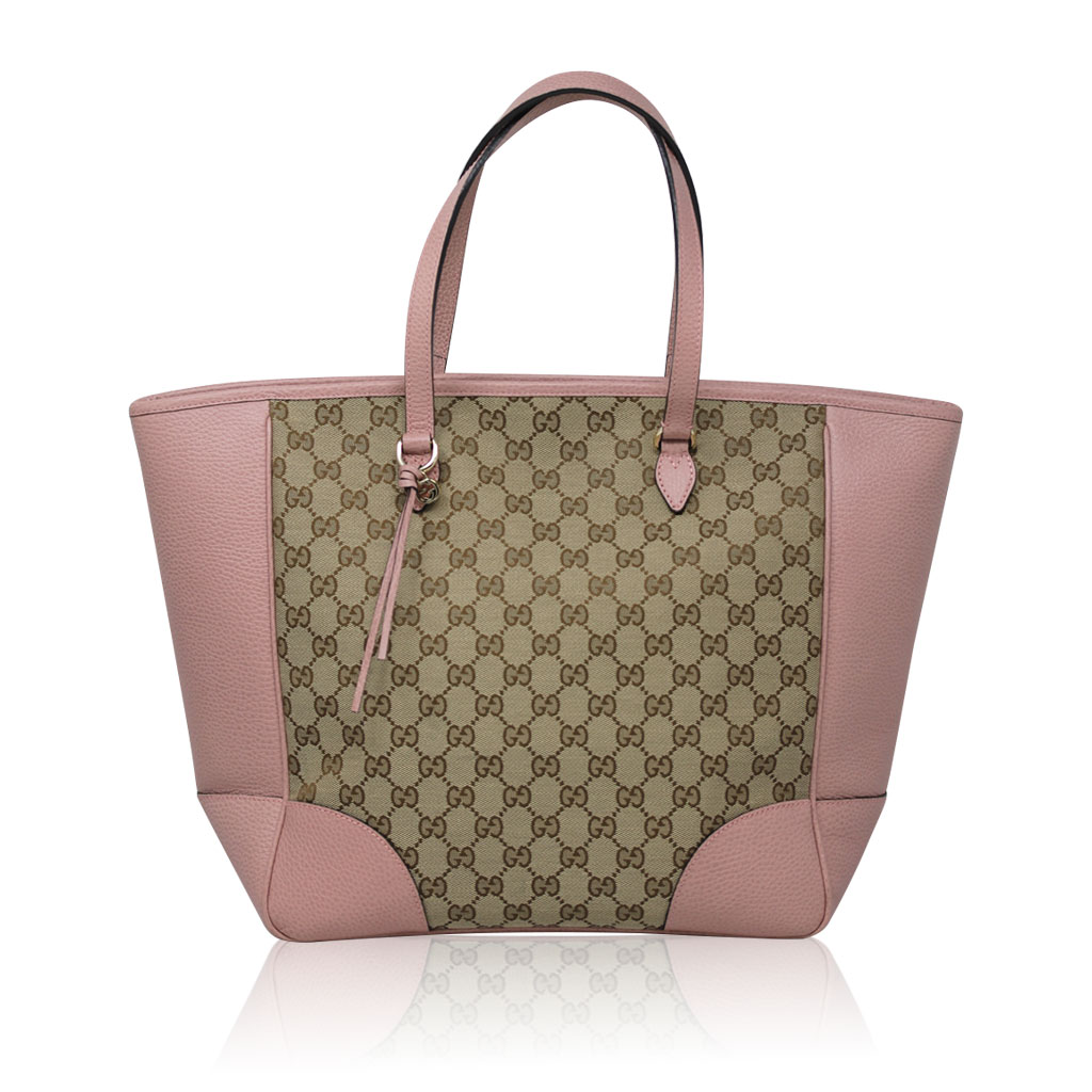 3bdb5db7c07d Authentic Gucci Monogram and Pink Leather Large Tote Bag in Dust ...