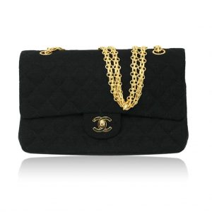 Chanel Black Jersey Double Flap Handbag