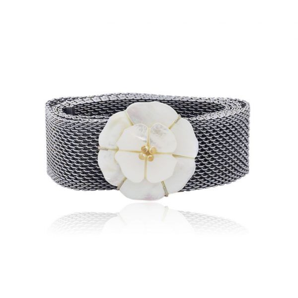 Chanel Camellia Mother of Pearl Mesh Belt