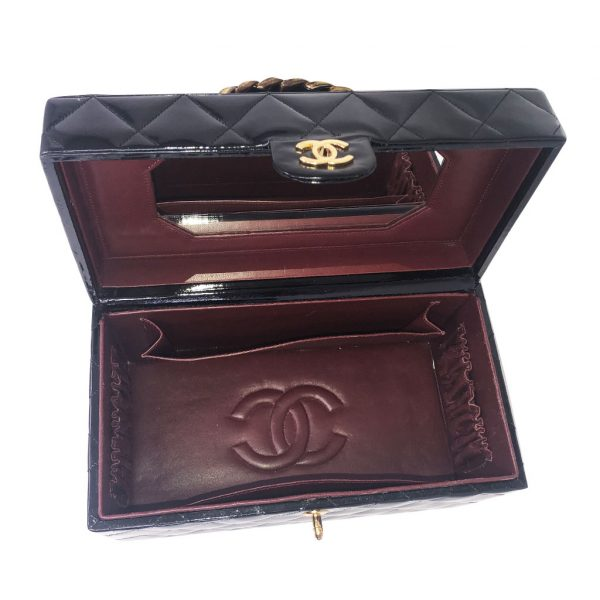 chanel black patent leather beauty case