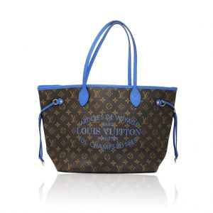 louis vuitton neverfull mm blue voyage tote limited edition