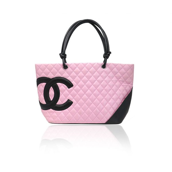 Chanel pink cambon tote bag
