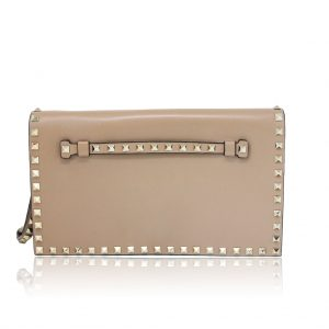 Valentino Tan Leather Rockstud Flap Clutch Purse Bag