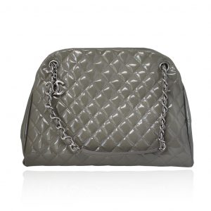 Chanel Gray Just Mademoiselle Patent Leather Large Handbag Shoulder Bag in box w/dust bag
