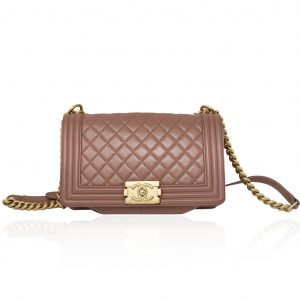 Chanel Brown Lambskin Medium Boy Bag