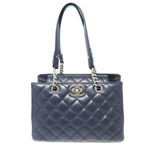 Chanel Navy SHW Shopper Tote Shoulder Bag Handbag no. 23
