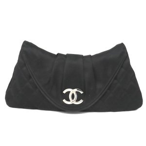 Chanel Half Moon SHW Black Quilted Satin Clutch