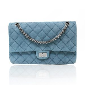 Chanel 2.55 Blue Suede/Nubuck Double Flap Reissue Handbag Shoulder Bag