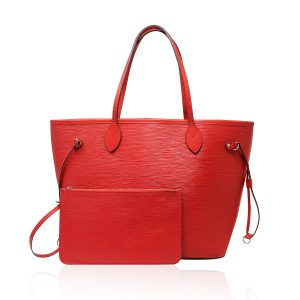 Louis Vuitton Red Epi Neverfull MM Handbag w/matching pochette