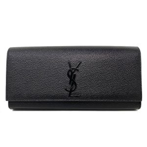 YSL Yves Saint Laurent Kate Black Pebbled Leather Clutch