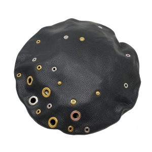 Louis Vuitton Embellished Grommets Black Leather Beret Hat With Box