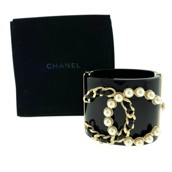 CHANEL Black and Gold Resin CC Pearl Chain Wide Cuff Bracelet
