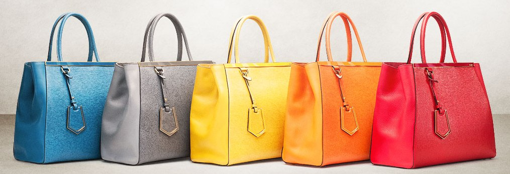 Fendi 2Jours Tote in 2013 colors: blue, grey, yellow,orange and red