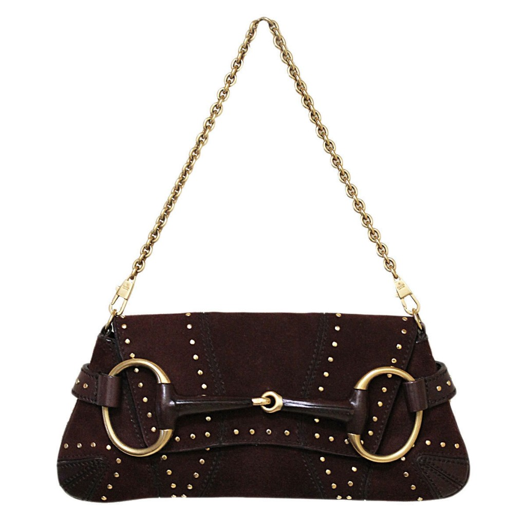 Gucci Brown Suede Horse Bit Gold Purse Shoulder Bag