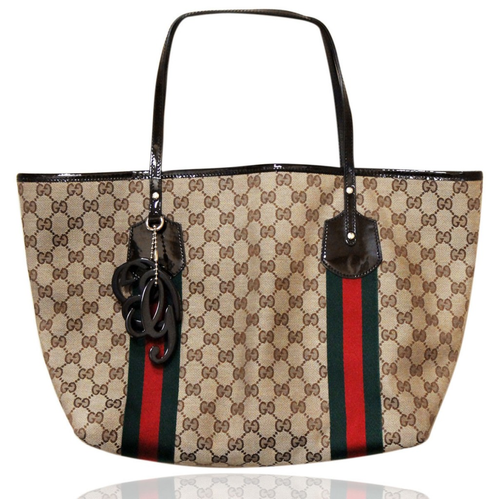 Gucci Patent Leather Canvas Charm Shopper Tote Bag