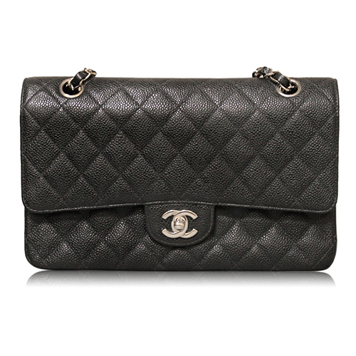 Chanel Black Caviar Medium Double Flap SHW Shoulder Bag Purse