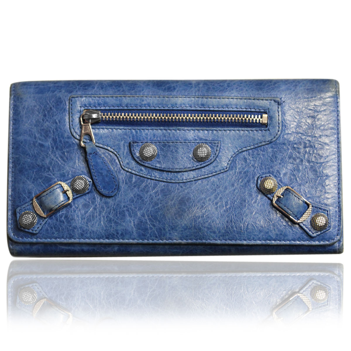 Balenciaga Blue Leather Long Studded Wallet