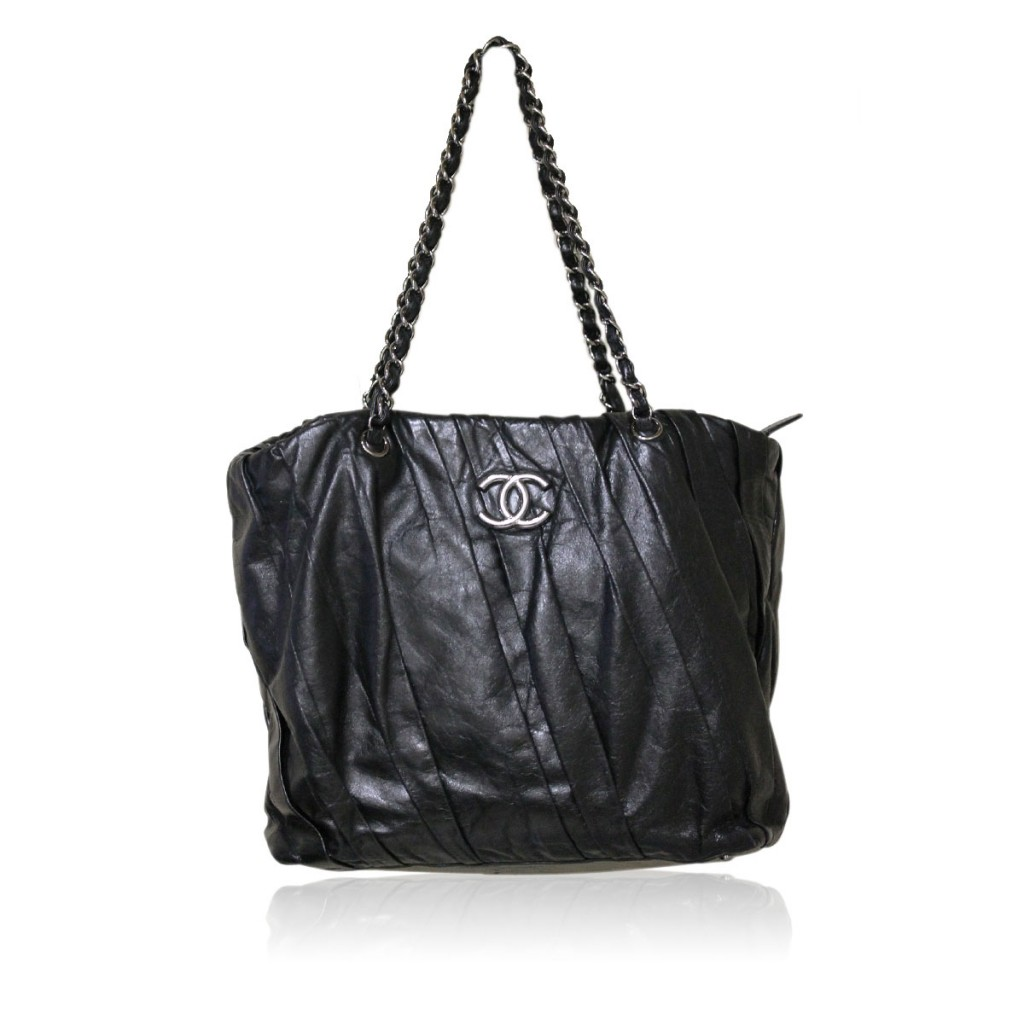 Chanel Black Distressed Leather SHW Tote Bag No. 13