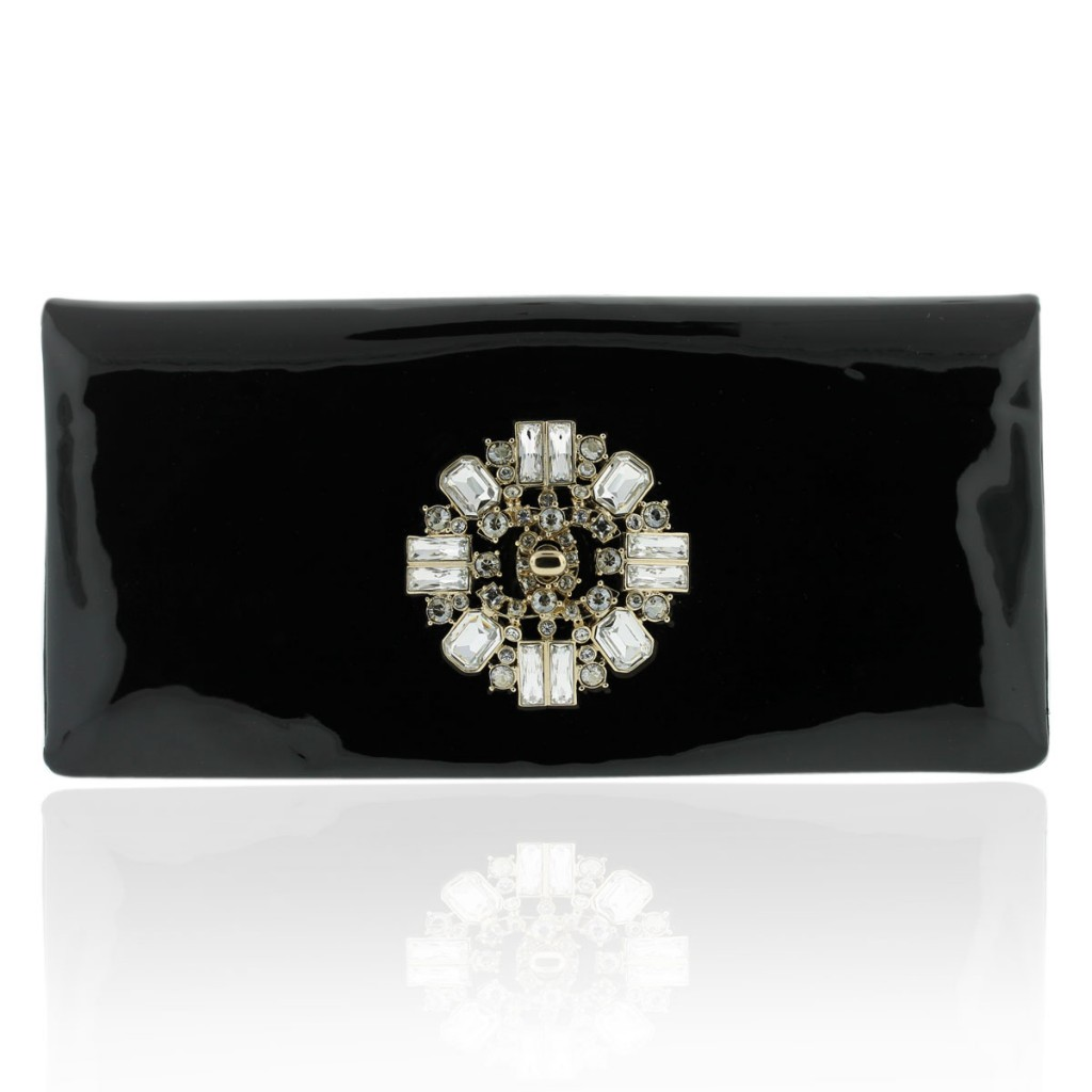 Chanel Jeweled Floral Patent Leather Clutch