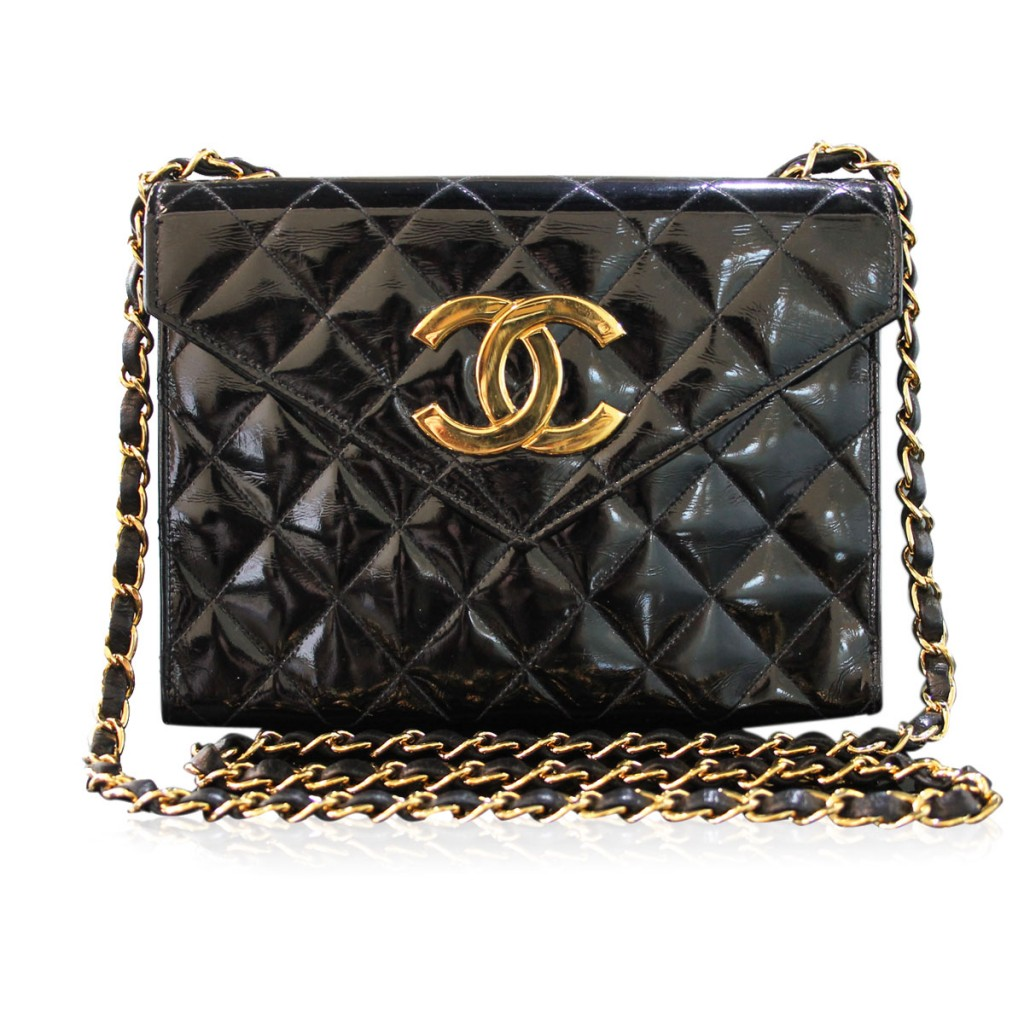 Chanel Patent Leather GHW Gold Chain Crossbody Vintage Shoulderbag
