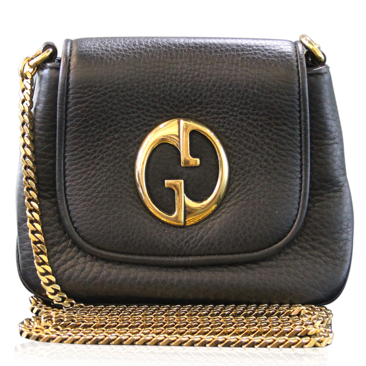 Gucci Black Pebbled Leather GHW 1973 Cross Body Shoulder Bag