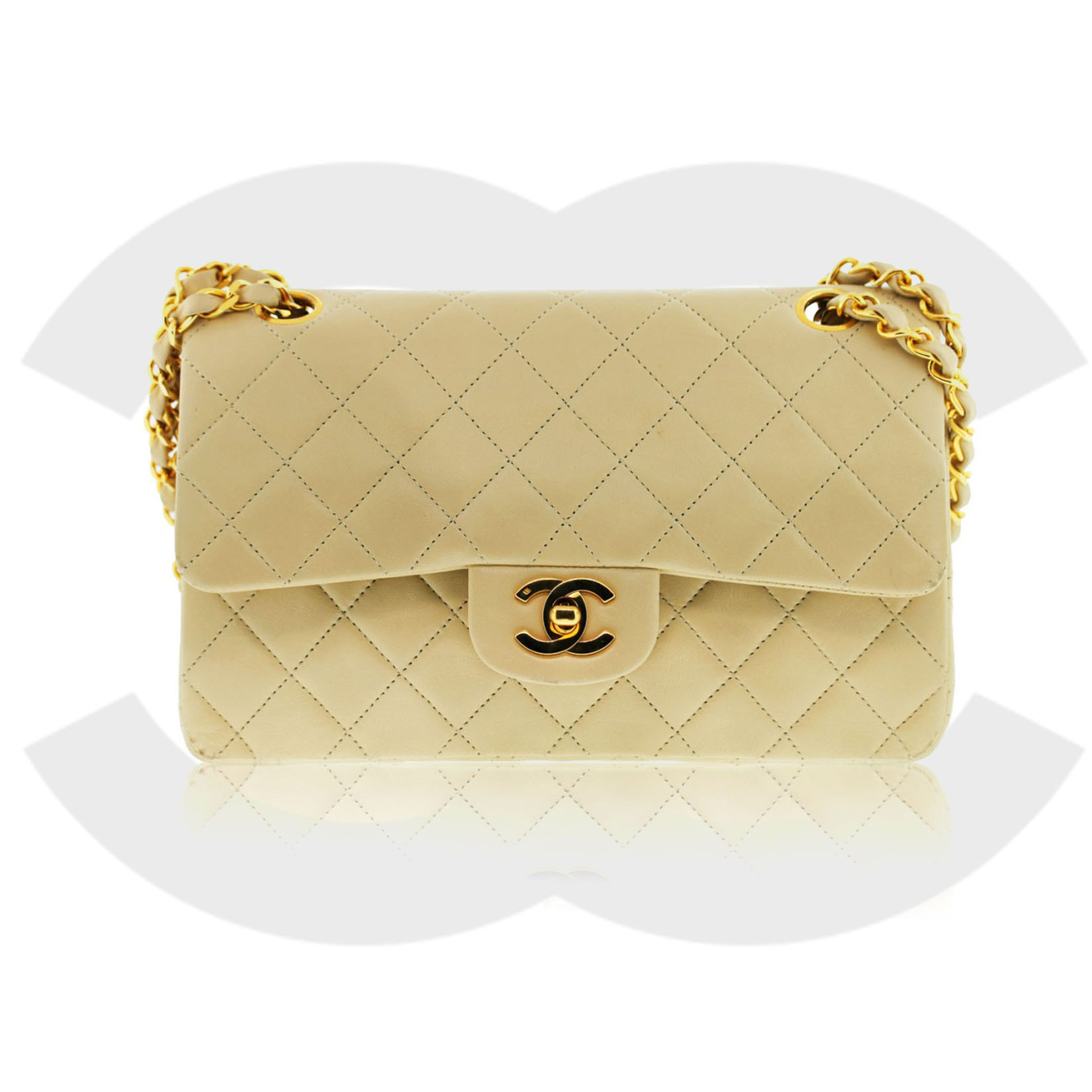 Chanel Beige Vintage Double Flap Shoulder bag