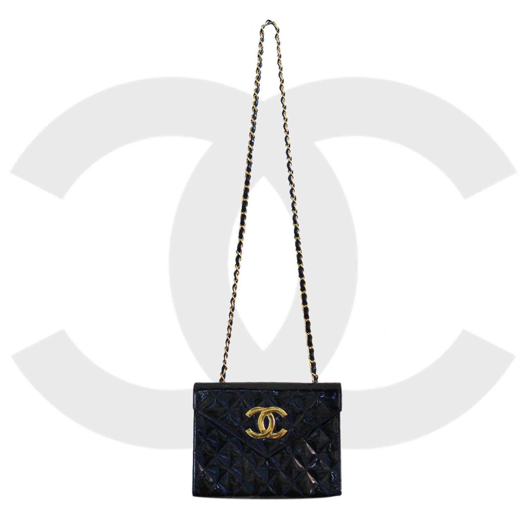 Vintage Chanel Patent Black Leather Shoulder Bag