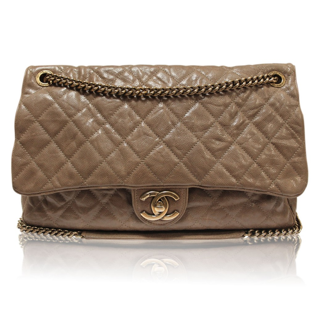 Chanel Brown Distressed Quilted Flap Bag