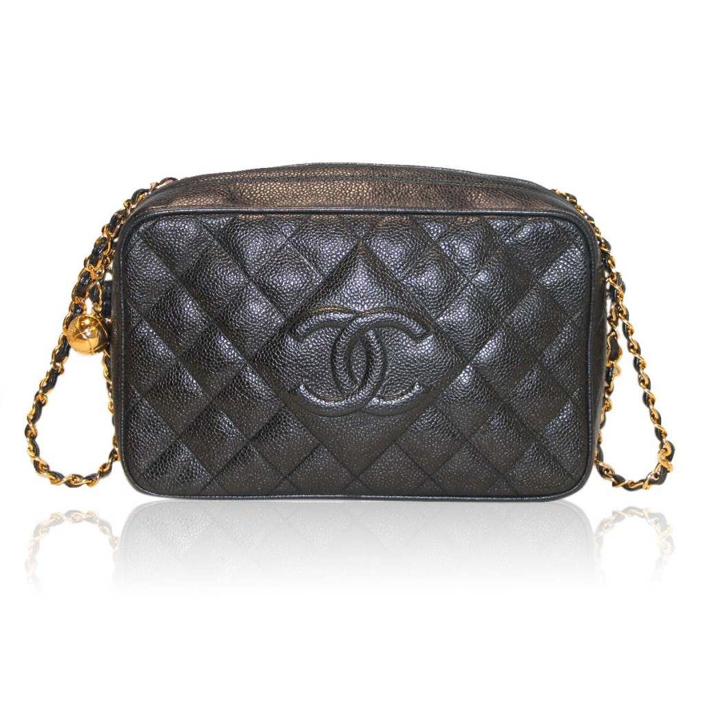 Chanel Black Caviar Gold Hardware Camera Shoulder Bag Purse in Box