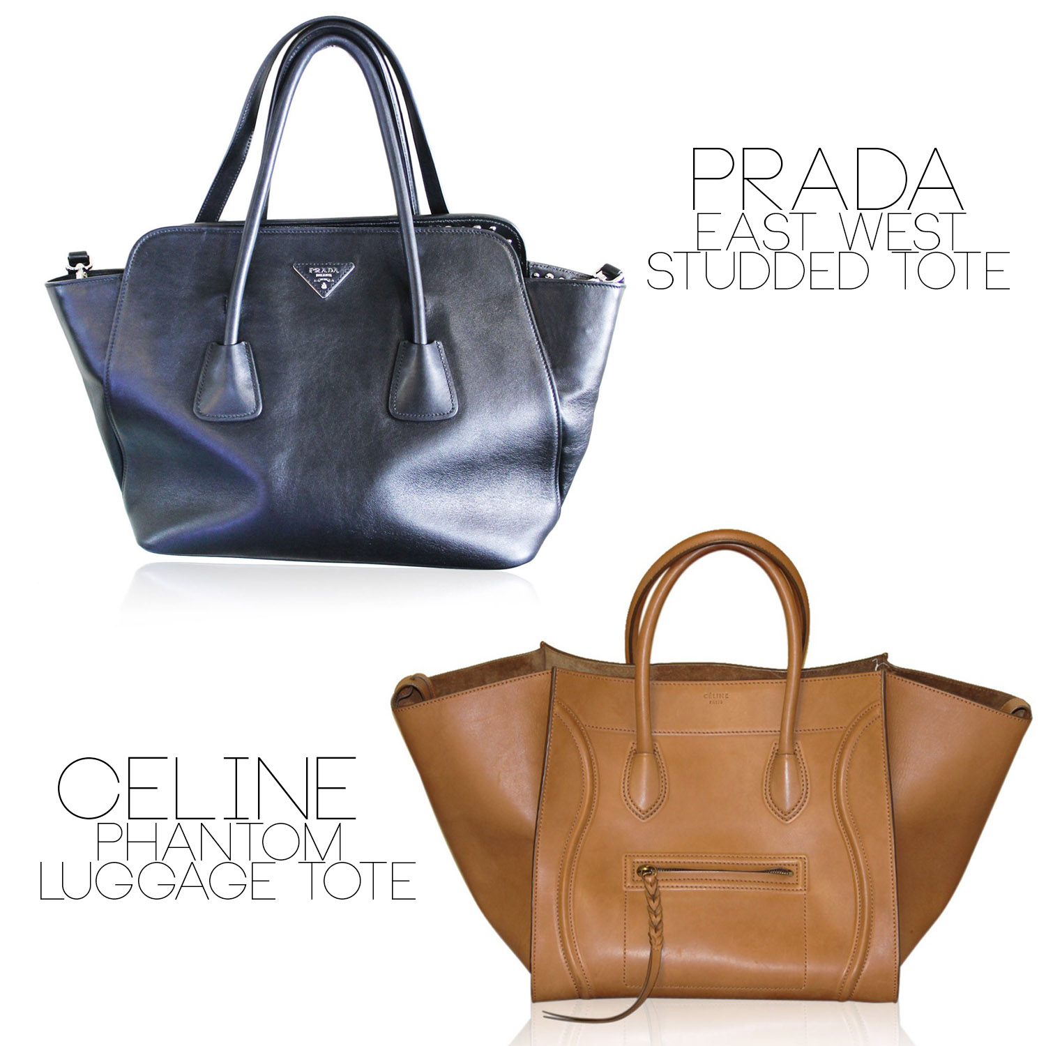 Celine Phantom Tote vs Prada East West tote