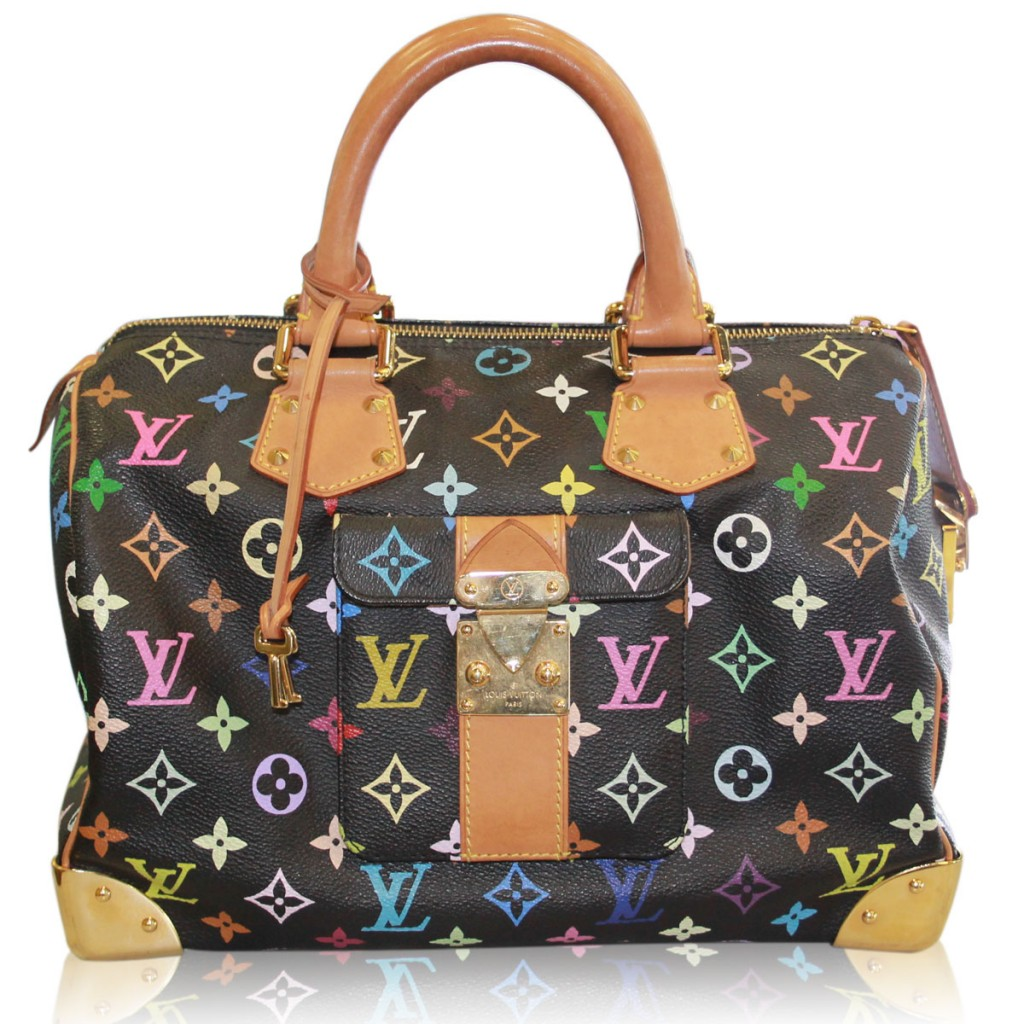 Louis Vuitton Black Murakami Speedy 30 Multi-Color Handbag