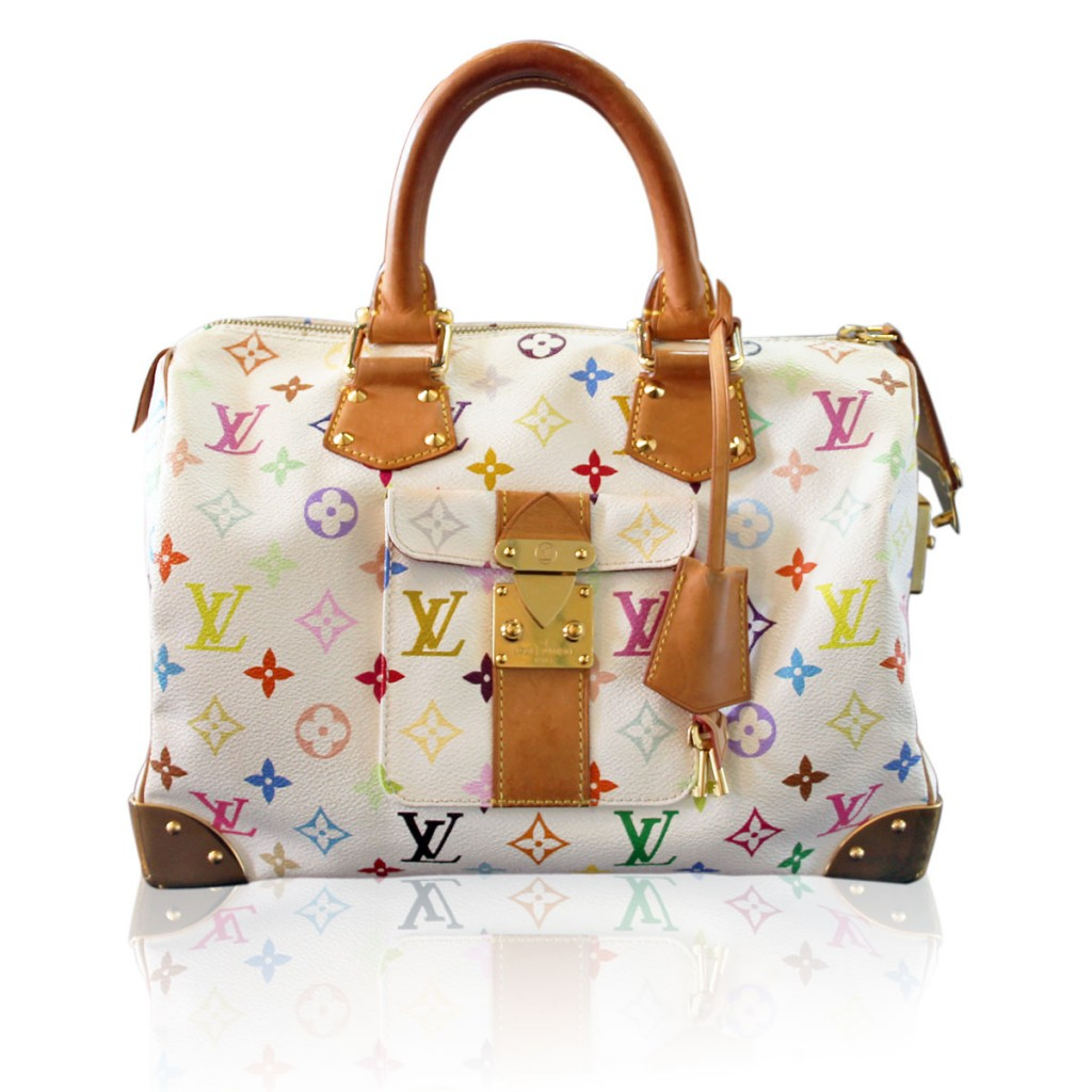 Colorful Louis Vuitton White Murakami Speedy 30 Boca Raton