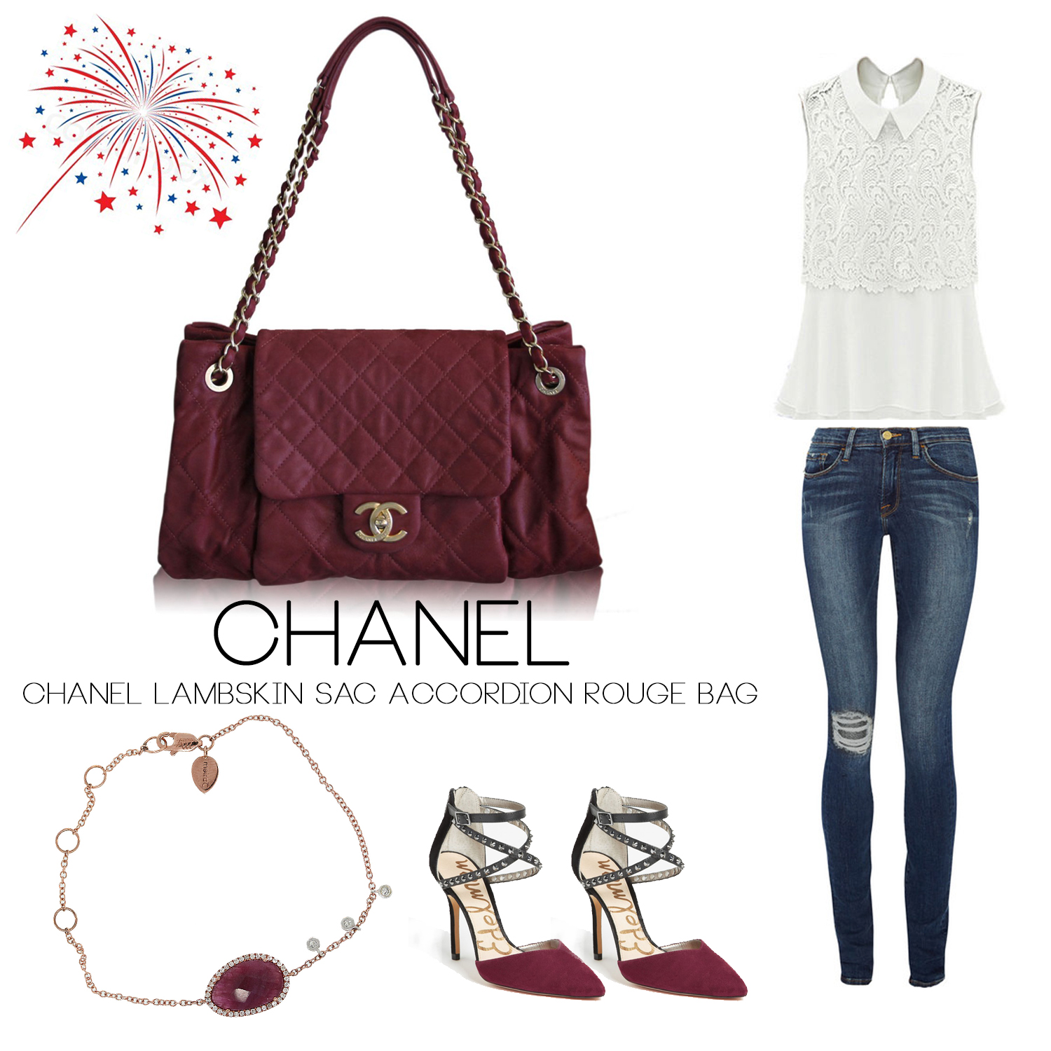 Chanel Sac Accordion Rouge Flap Bag Boca Raton