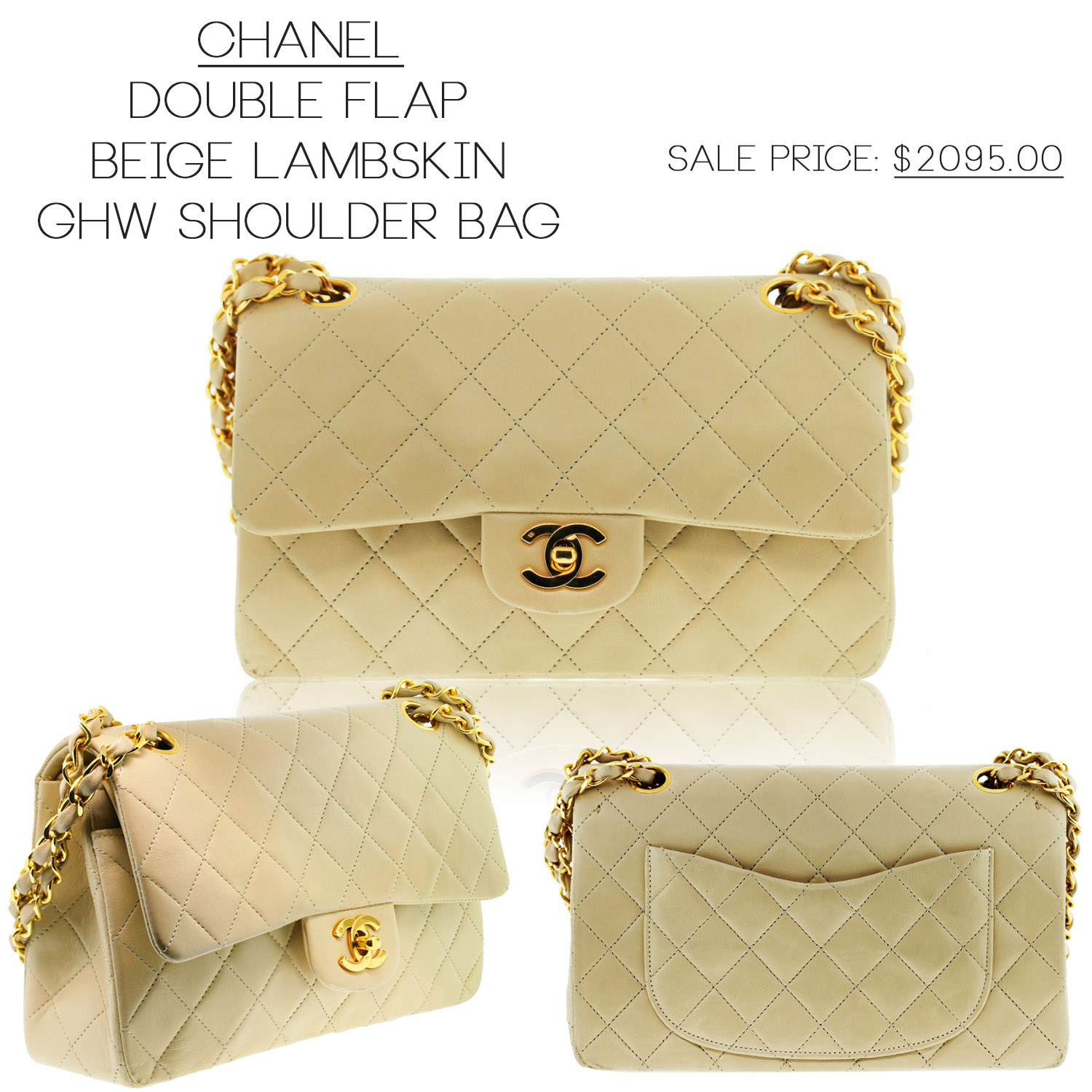 Chanel Beige GHW Classic Double Flap Bag