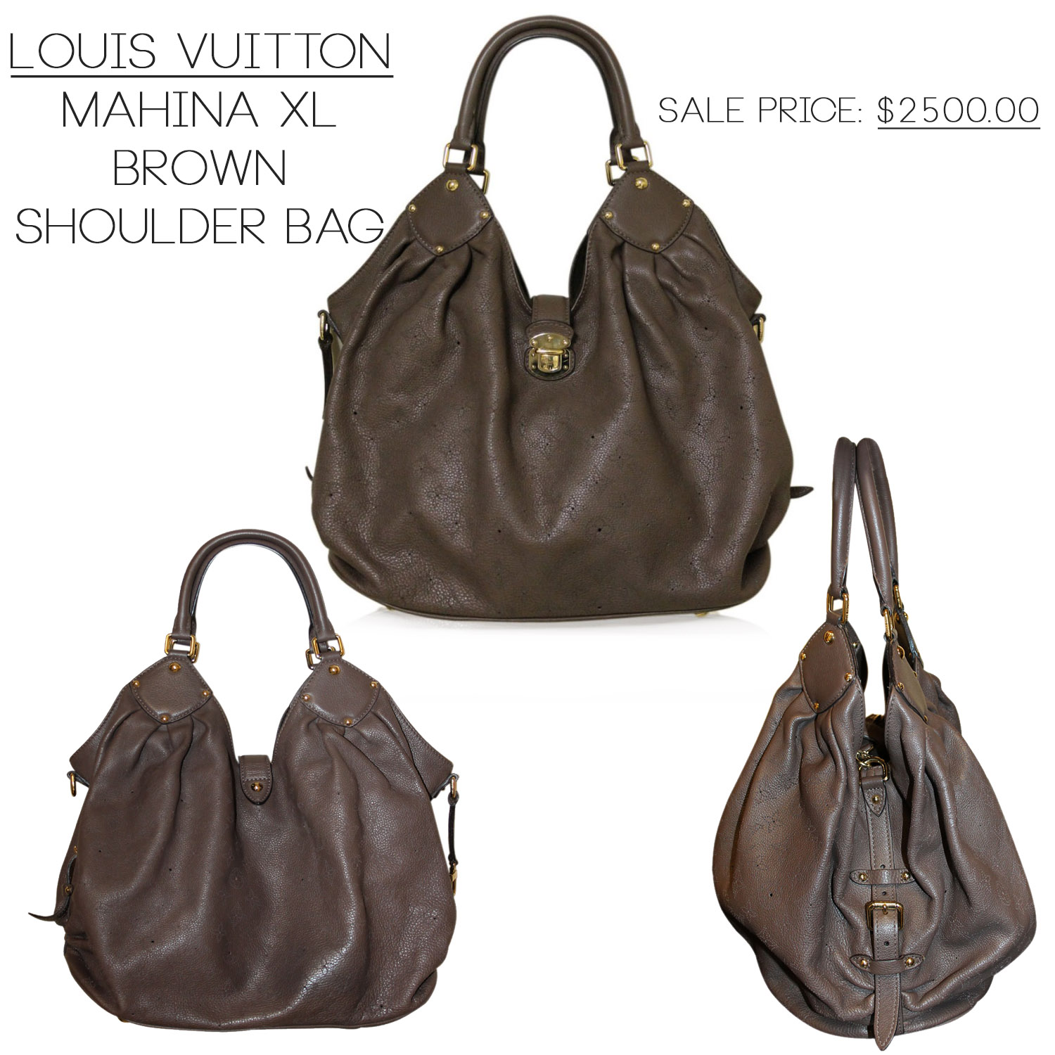 Louis Vuitton Brown Mahina XL Shoulder Bag